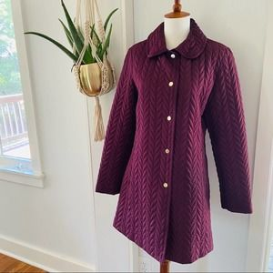 KATE SPADE Quilted Snap Button Jacket Eggplant